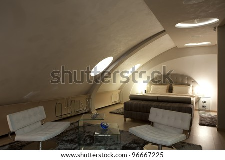 Interior Of A Modern Apartment With Curved Ceiling