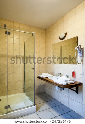 Interior of a modern bathroom in pastel colors. Shower cabin, basins, white towels. The vertical position photo.