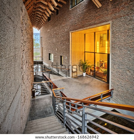 interior of a modern building - stock photo