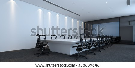 Interior of a modern corporate conference room with stylish furniture and a large television or presentation screen. 3d rendering