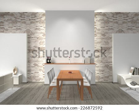 interior of a modern dining room 3D rendering with copy space for images and photos - stock photo