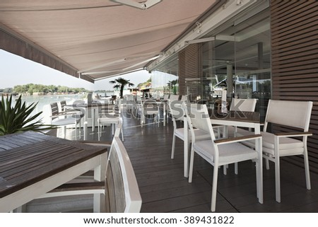 Interior of a modern floating restaurant  - stock photo