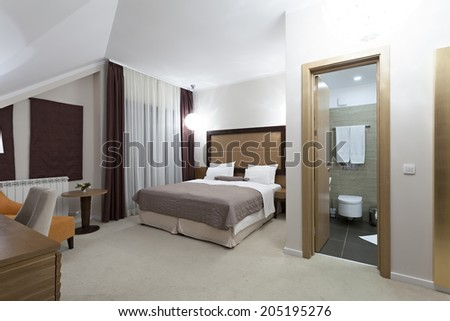 Interior of a modern hotel room - stock photo