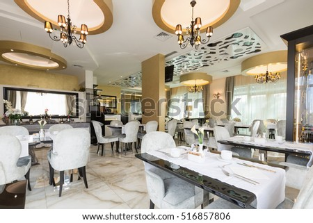 interior of a modern luxury hotel restaurant - Modern Luxury Dining Room