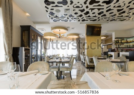 Interior of a modern luxury hotel restaurant