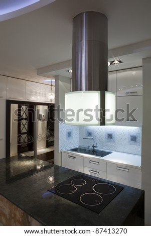 Interior of a modern luxury kitchen - stock photo