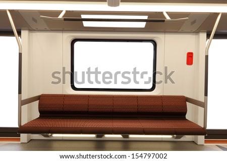 Interior of a modern metro carriage - stock photo