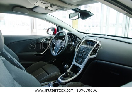Interior of a modern new car. - stock photo