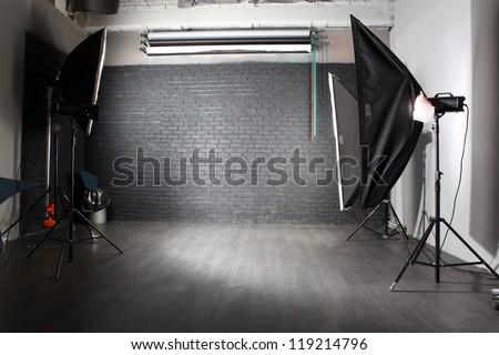 interior of a modern photo studio - stock photo