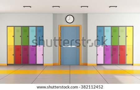 Interior of a modern school with colorful student lockers and door of a classroom - 3D Rendering - stock photo