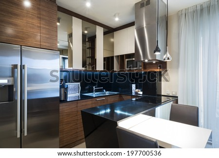 Interior of a modern small kitchen