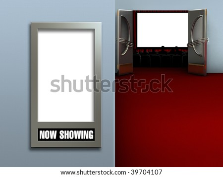 Interior of a movie theater showing a blank movie poster frame and a blank movie screen with an audience - stock photo