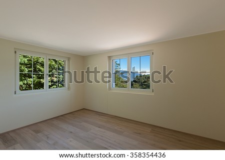 Interior of a new apartment, room with two windows