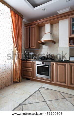 Interior of a new customized kitchen - stock photo