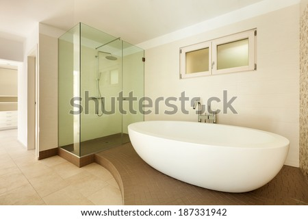 Interior of a new empty house, bathroom,  - stock photo