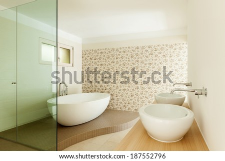 Interior of a new empty house, bathroom - stock photo