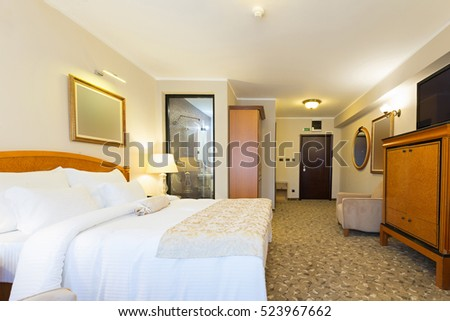 Interior of a new hotel double bed bedroom