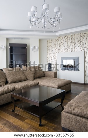 Interior of a new living room - stock photo