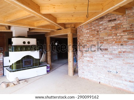 Interior of a new unfinished ecological house - stock photo