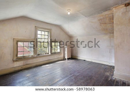 Interior of a pink bedroom in an old abandoned home - stock photo