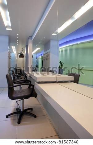 Interior of a professional luxury hair studio - stock photo