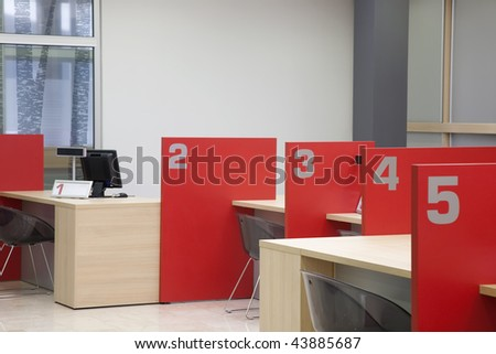 interior of a registration room - stock photo