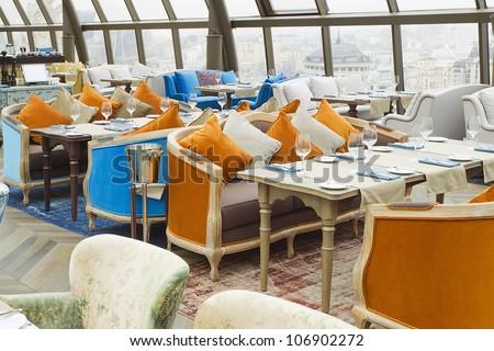Interior of a restaurant, modern design. - stock photo