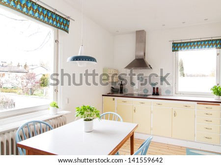 interior of a retro kitchen from the 1950s. - stock photo