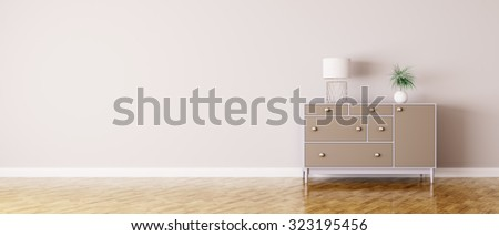 Interior of a room with chest of drawers panorama 3d render - stock photo