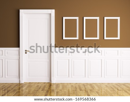 Interior of a room with classic door and frames - stock photo
