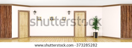 Interior of a room with classic wooden doors and paneling panorama 3d rendering