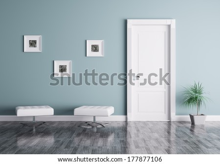Interior of a room with door and seats - stock photo