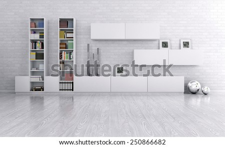 Interior of a room with sideboard over the brick wall 3d render - stock photo