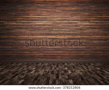 Interior of a room with wooden planks wall and parquet floor background 3d render - stock photo