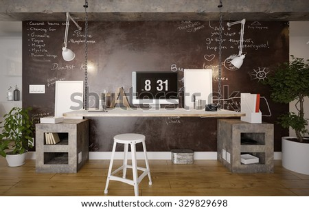 interior of a rustic home office 3 d render using 3 d s max