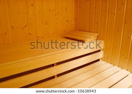 Interior of a sauna - stock photo