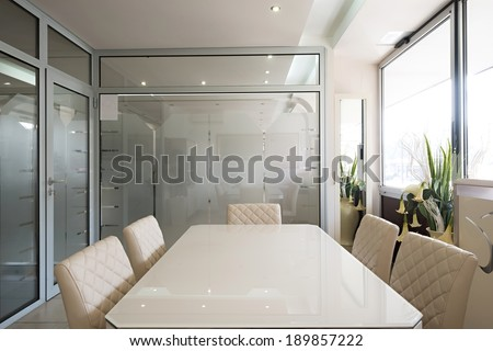 Interior of a small boardroom - stock photo