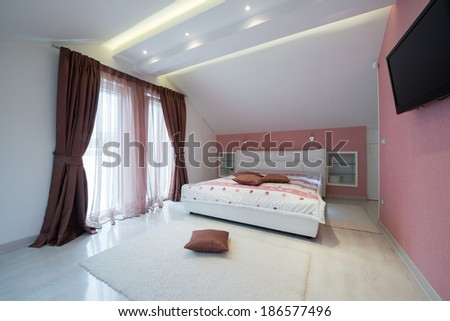 Interior of a specious bedroom  - stock photo