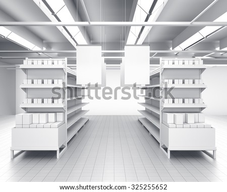 interior of a store or shop. 3D rendering - stock photo