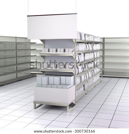 interior of a store with lots of products. 3D rendering - stock photo