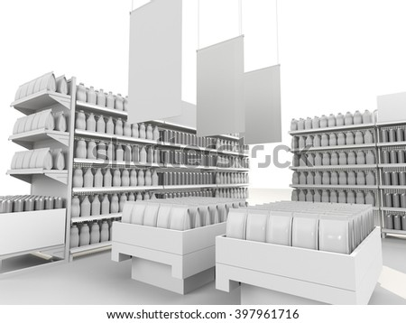 interior of a supermarket with product island