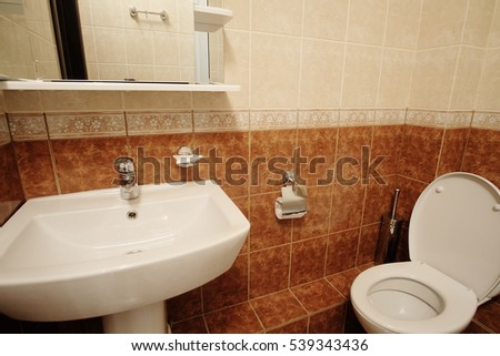 Interior of a toilet room in a hotel