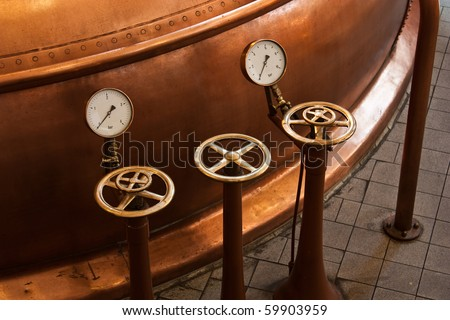 Interior of a traditional brewery in Amsterdam, Holland - stock photo
