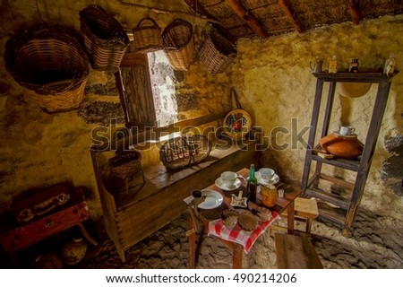 Nice Interior Of Abandoned Stone Made Houses In A Medieval Village El Hierro  Island Spain