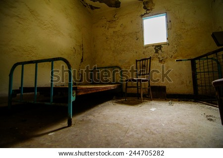 Interior Of An Abandoned House in Canary Islands Spain - stock photo