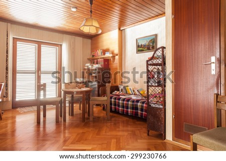 Interior of an austrian house with old retro furniture ready for renovation - stock photo