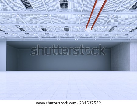Interior of an empty hangar. - stock photo