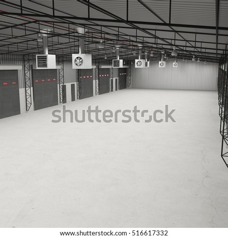 Interior of an empty storage room. 3D illustration
