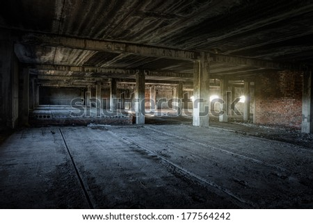 interior of an old abandoned building