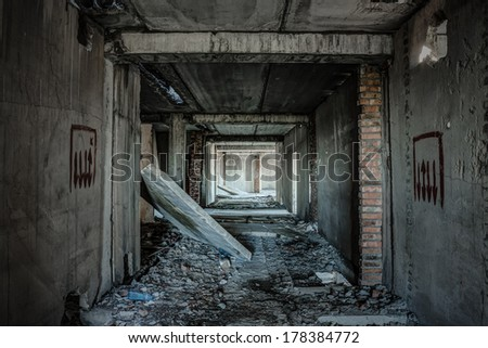 interior of an old abandoned building  - stock photo